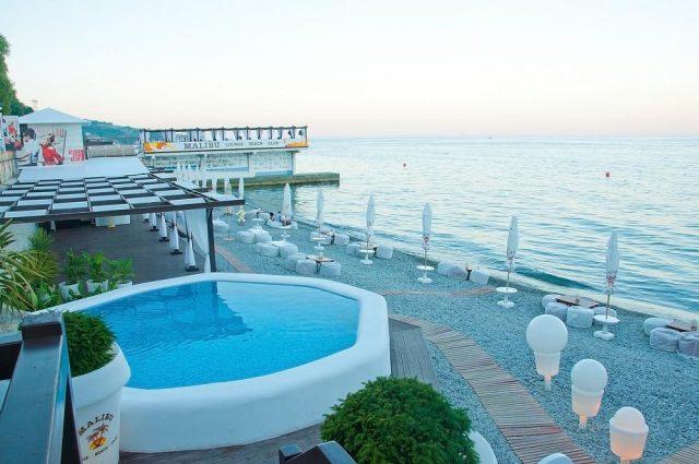 apartamenty-laros вид на бассейн и море в Ялте