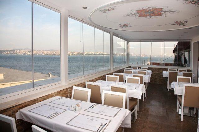 великолепный вид на Босфор из ресторана отеля