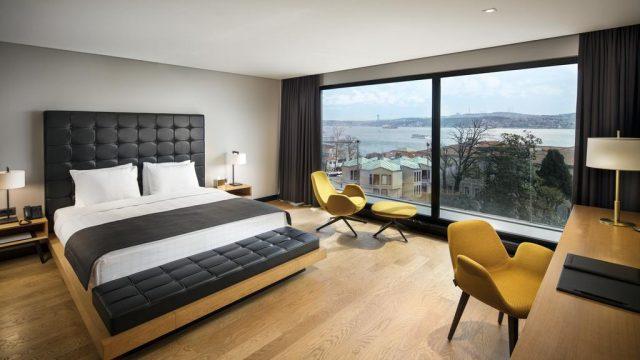 шикарный вид из панорамного окна спальни на Стамбул и Босфор