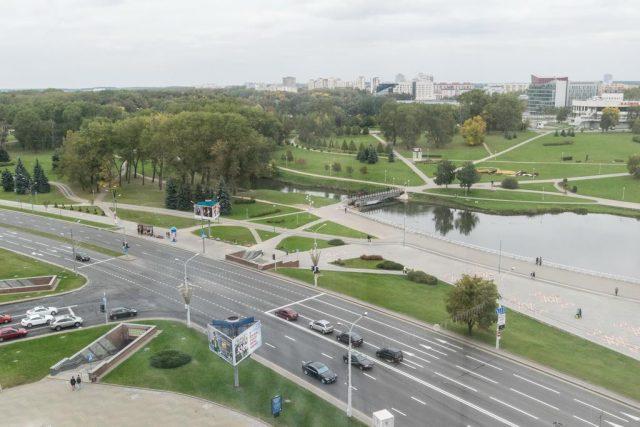 красивый вид на Минск и парковую зону из окон отеля Юбилейный